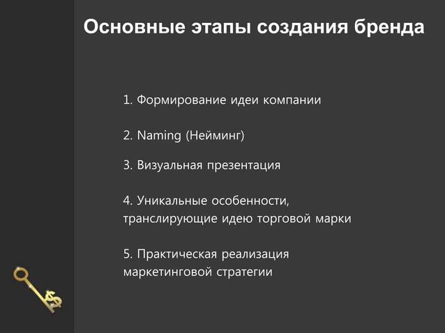 Основные этапы создания бренда 1. Формирование идеи компании 2. Naming (Нейминг) 3. Визуальная презентация 4. Уникальные о...