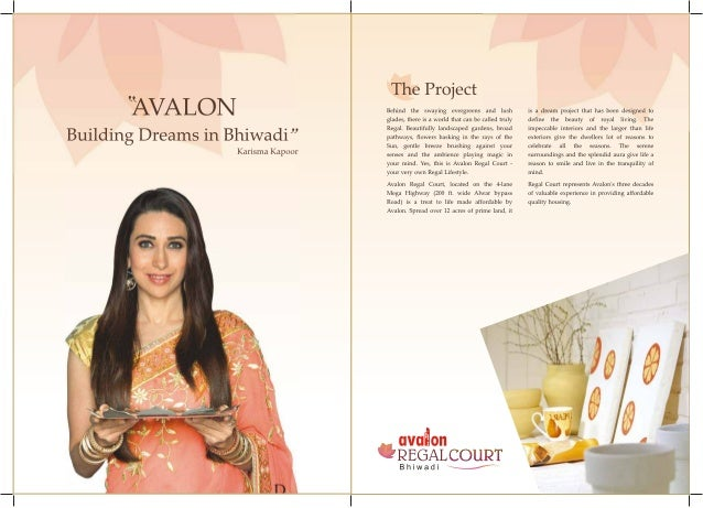 """'AVALON  Building Dreams in Bhiwadi""""  Karisma Kapoor  The Project  Behind the swaying evergreens and lush glades,  there i..."""