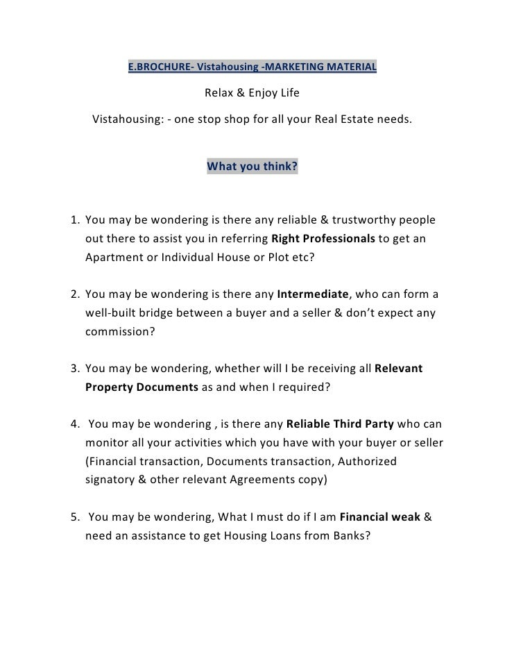 E.BROCHURE- Vistahousing -MARKETING MATERIAL                         Relax & Enjoy Life    Vistahousing: - one stop shop f...