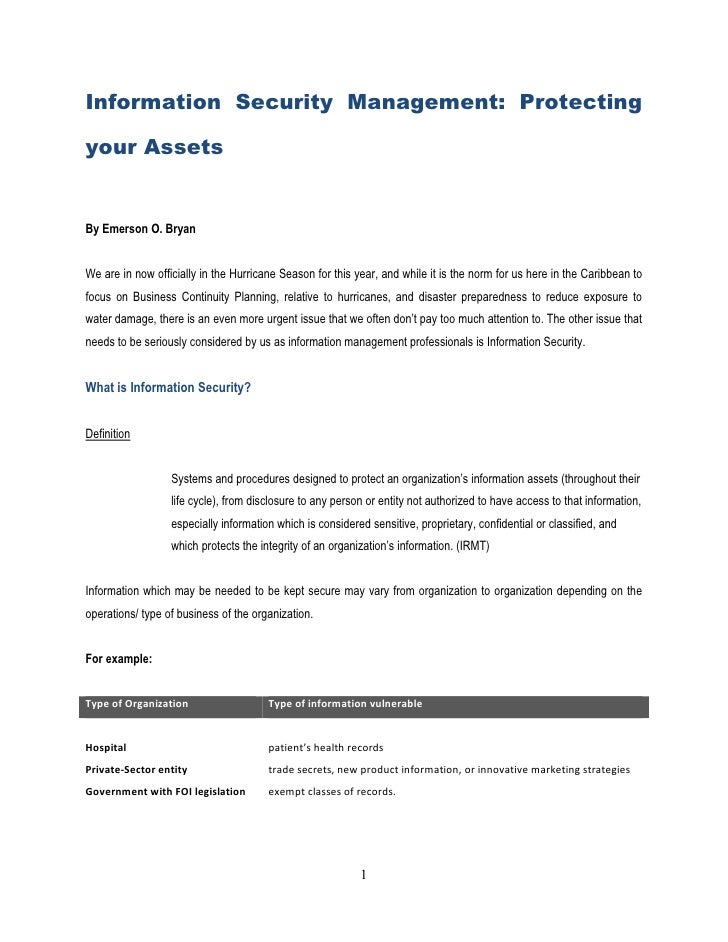 Information Security Management: Protecting  your Assets   By Emerson O. Bryan   We are in now officially in the Hurricane...