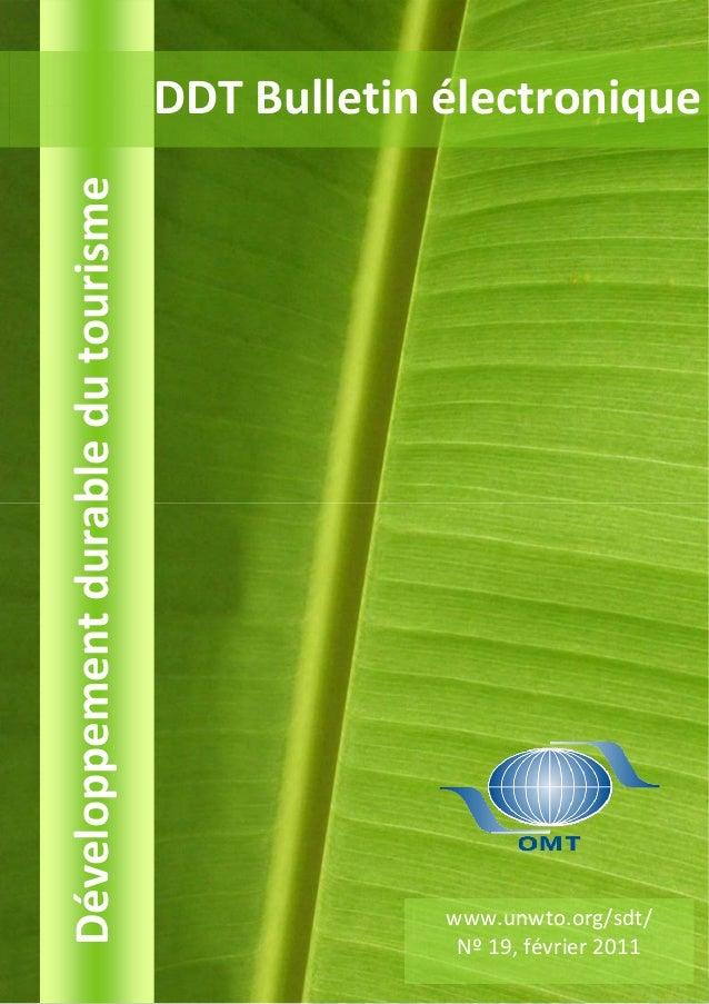 Développement durable du tourisme   DDT Bulletin électronique                                                 www.unwto.or...