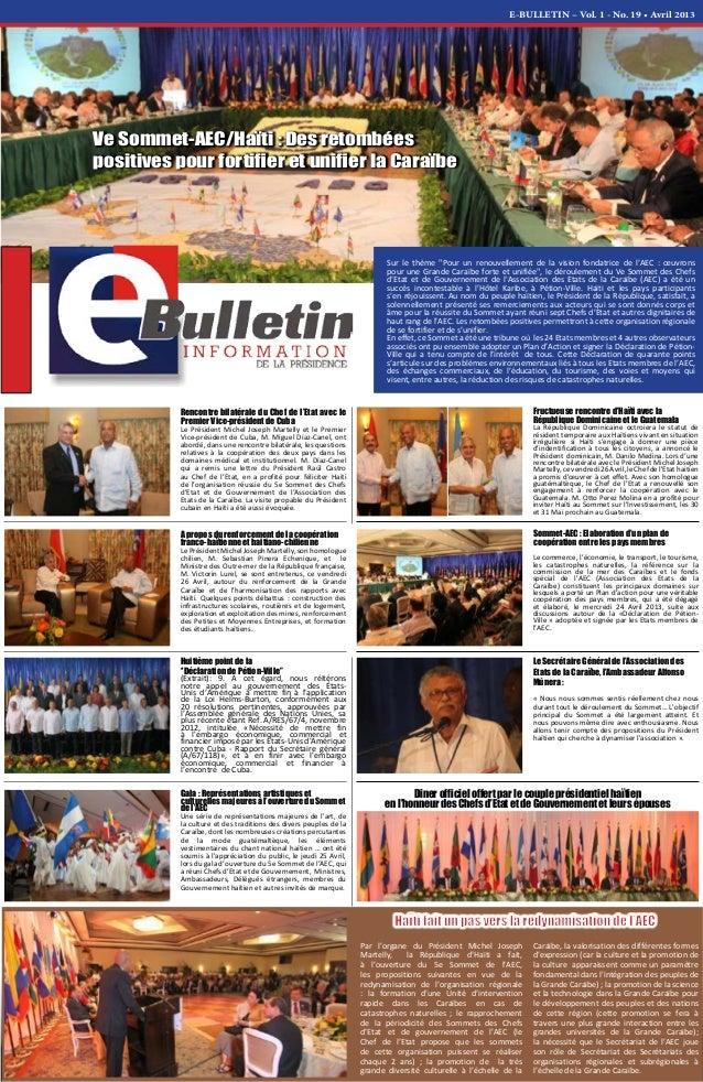 """E-BULLETIN – Vol. 1 - No. 19 • Avril 2013 Sur le thème """"Pour un renouvellement de la vision fondatrice de l'AEC : œuvrons ..."""