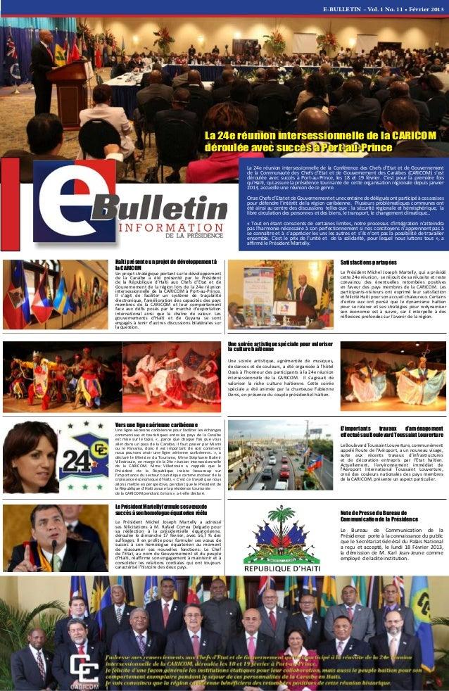 E-BULLETIN – Vol. 1 No. 11 • Février 2013 La 24e réunion intersessionnelle de la Conférence des Chefs d'Etat et de Gouvern...