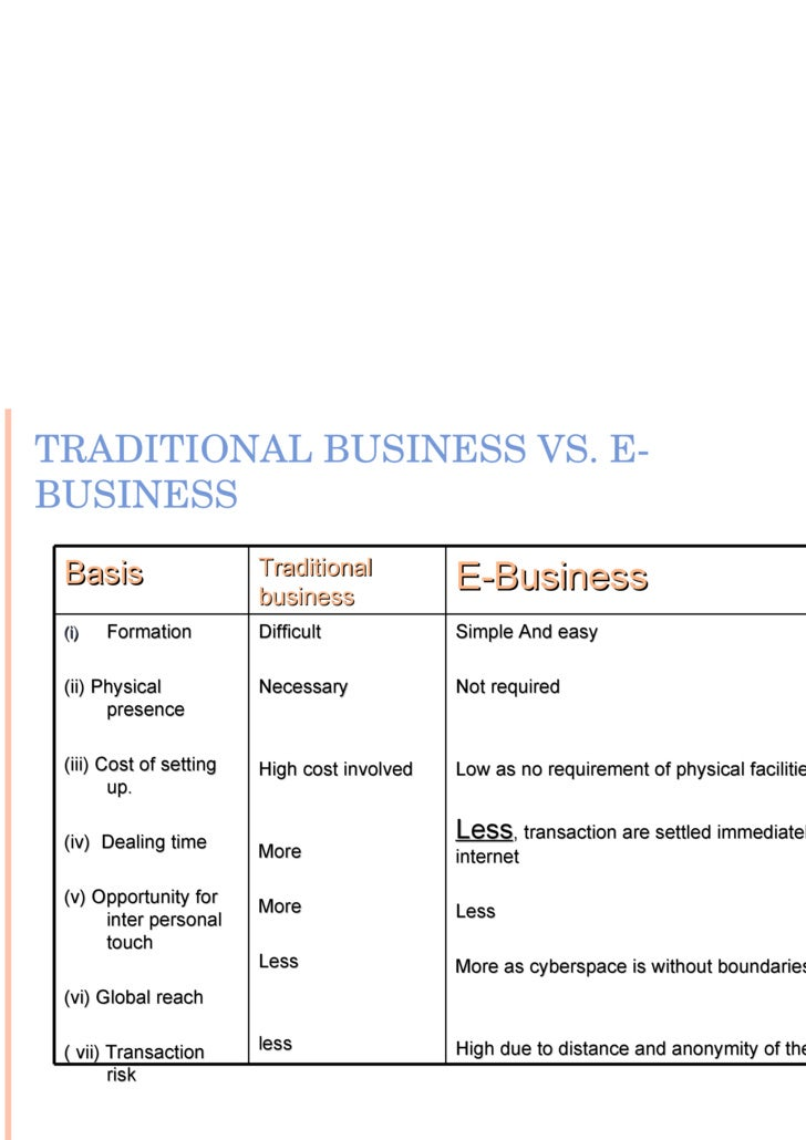differences between e business traditional business The focus of this article is to discuss the differences between traditional and e- commerce but before that, we need to understand how these modes of goods  and.