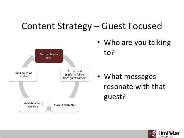 Content Strategy – Guest Focused • Who are you talking to? • What messages resonate with that guest?  18