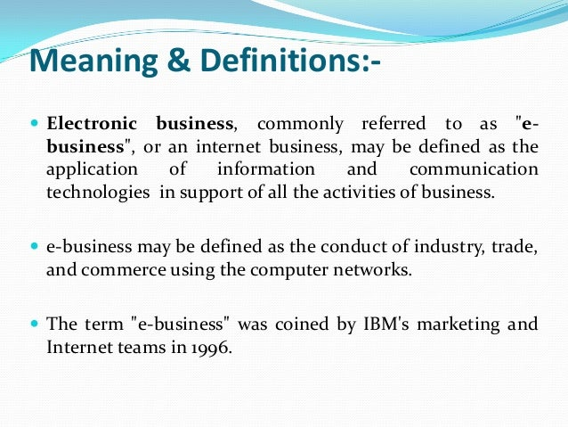 E business and