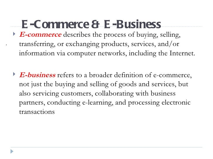 introduction to internet and e business What is e -commerce by andreas and/or services via electronic channels such as the internet e-commerce was first introduced in the to business) – in c2b e.