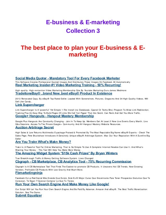 E business e marketing collection 3 e business e marketing collection 3 the best place to plan your e malvernweather Gallery