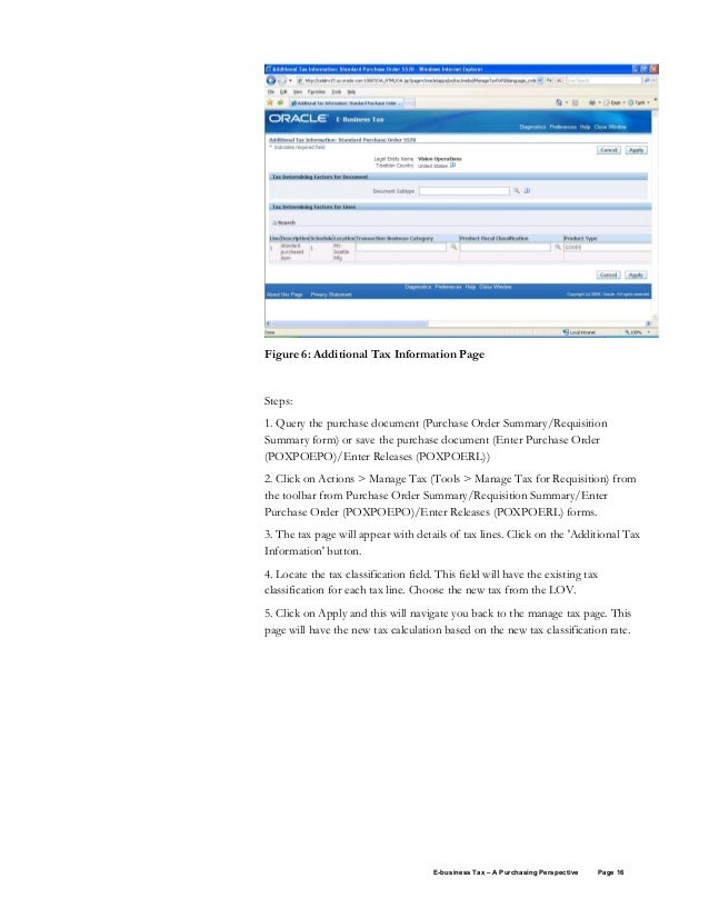 Oracle E business tax purchasing whitepaper