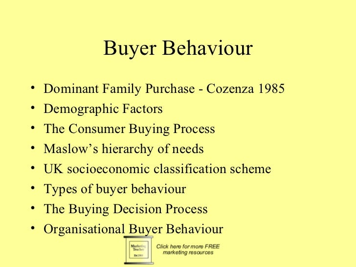 Buyer Behaviour•   Dominant Family Purchase - Cozenza 1985•   Demographic Factors•   The Consumer Buying Process•   Maslow...