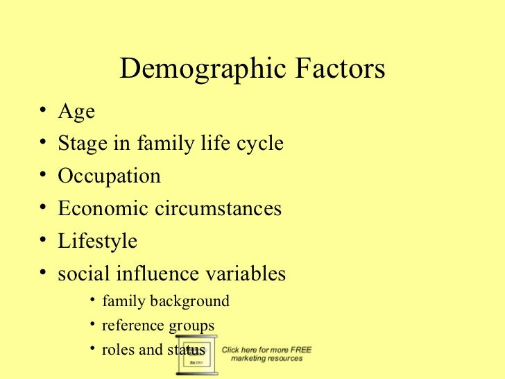 Demographic Factors•   Age•   Stage in family life cycle•   Occupation•   Economic circumstances•   Lifestyle•   social in...