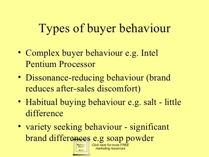 Types of buyer behaviour• Complex buyer behaviour e.g. Intel  Pentium Processor• Dissonance-reducing behaviour (brand  red...