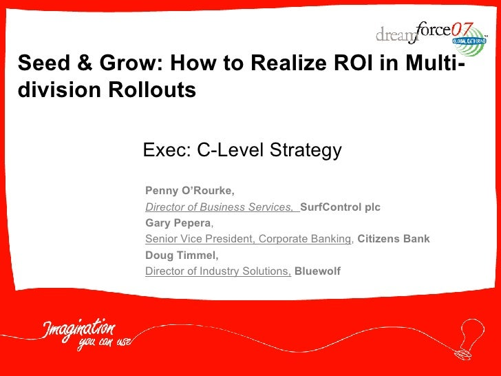 Seed & Grow: How to Realize ROI in Multi-division Rollouts  Penny O'Rourke,   Director of Business Services,  SurfControl ...