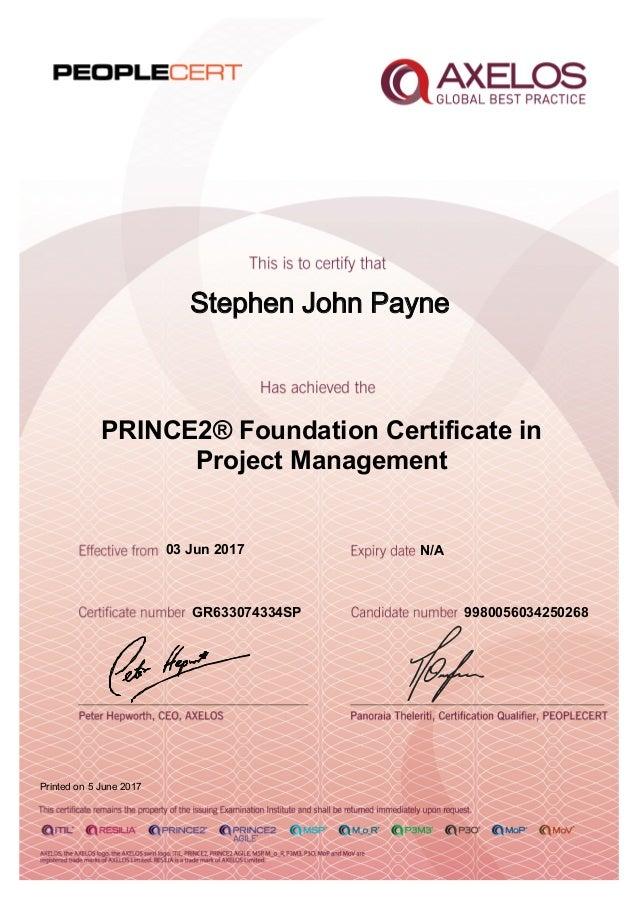 Prince2 foundation certificate.