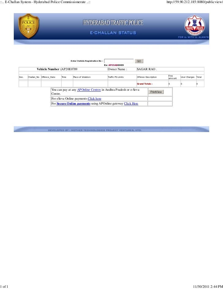 ::.. E-Challan System - Hyderabad Police Commissionerate ..::                                                             ...