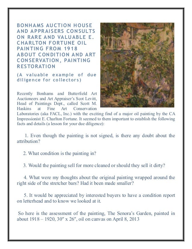 BONHAMS AUCTION HOUSEAND APPRAISERS CONSULTSON RARE AND VALUABLE E.CHARLTON FORTUNE OILPAINTING FROM 1918ABOUT CONDITION A...