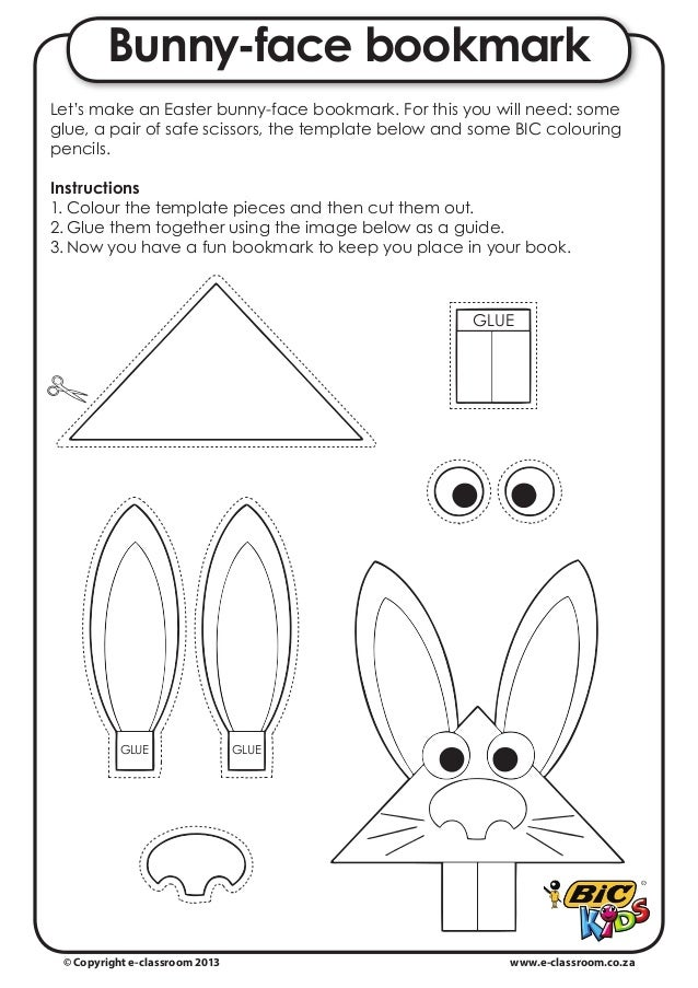 Bunny-face bookmarkLet's make an Easter bunny-face bookmark. For this you will need: someglue, a pair of safe scissors, th...