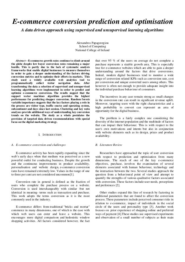 E-commerce conversion prediction and optimisation A data driven approach using supervised and unsupervised learning algori...