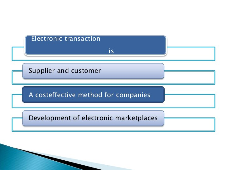 Electronic transaction                         isSupplier and customerA costeffective method for companiesDevelopment of e...