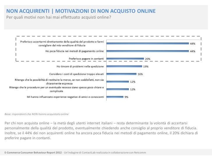NON ACQUIRENTI   MOTIVAZIONI DI NON ACQUISTO ONLINE Per quali motivi non hai mai effettuato acquisti online?Base: risponde...