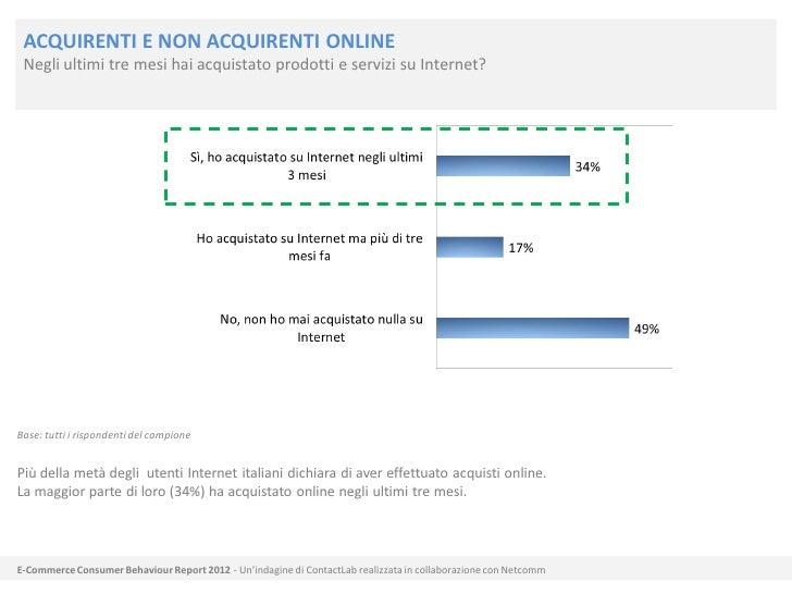 ACQUIRENTI E NON ACQUIRENTI ONLINE Negli ultimi tre mesi hai acquistato prodotti e servizi su Internet?Base: tutti i rispo...