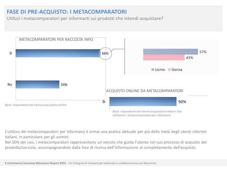 FASE DI PRE-ACQUISTO: I METACOMPARATORI Utilizzi i metacomparatori per informarti sui prodotti che intendi acquistare?    ...