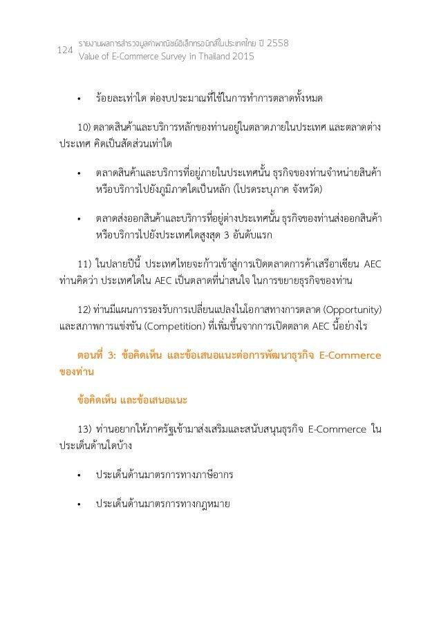 Thailand E commerce survey 2015