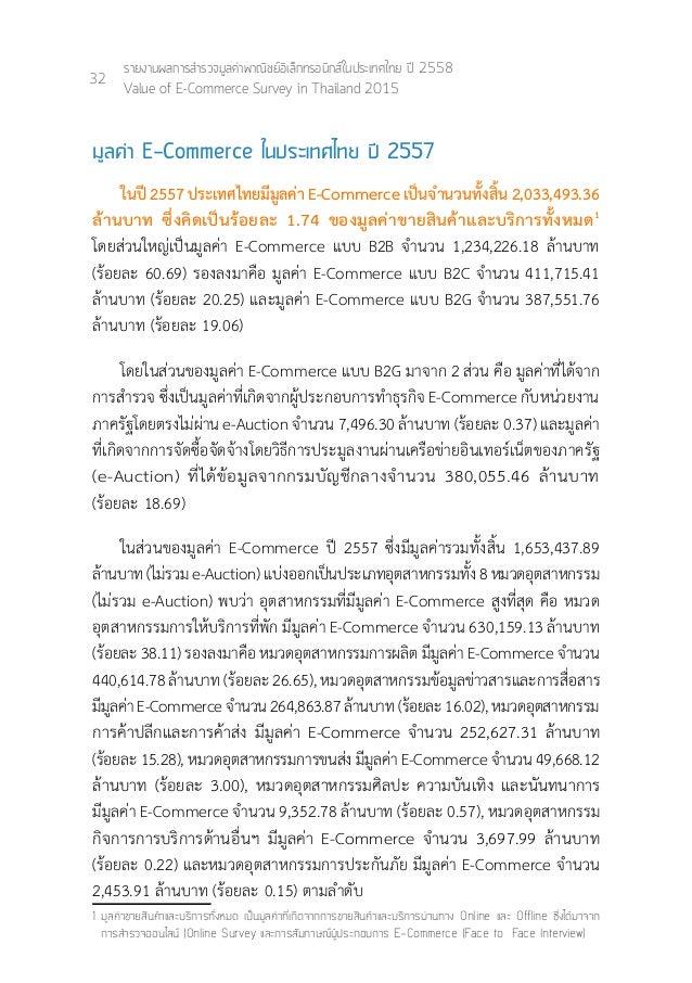 36 รายงานผลการสำ�รวจมูลค่าพาณิชย์อิเล็กทรอนิกส์ในประเทศไทย ปี 2558 Value of E-Commerce Survey in Thailand 2015