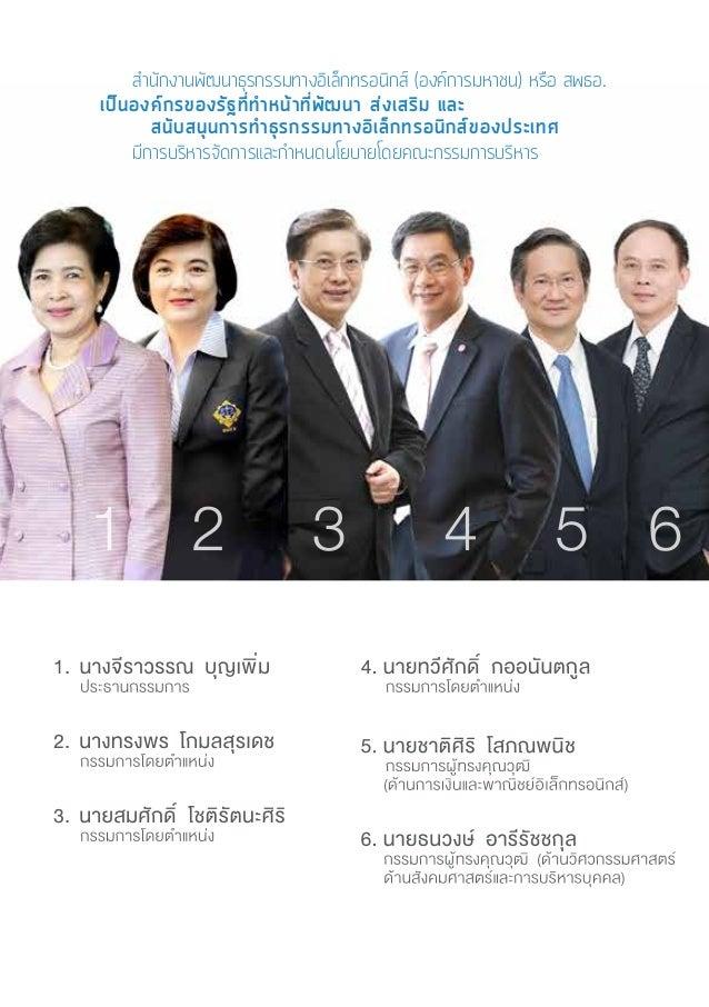 8 รายงานผลการสำ�รวจมูลค่าพาณิชย์อิเล็กทรอนิกส์ในประเทศไทย ปี 2558 Value of E-Commerce Survey in Thailand 2015 นางทรงพร โกม...