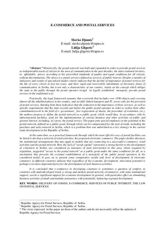 E-COMMERCE AND POSTAL SERVICES                                              Slavko Djumic1                                ...