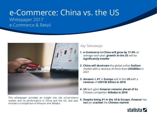 e-Commerce: China vs. the US Whitepaper 2017 e-Commerce & Retail 1. e-Commerce in China will grow by 17.4% on average each...