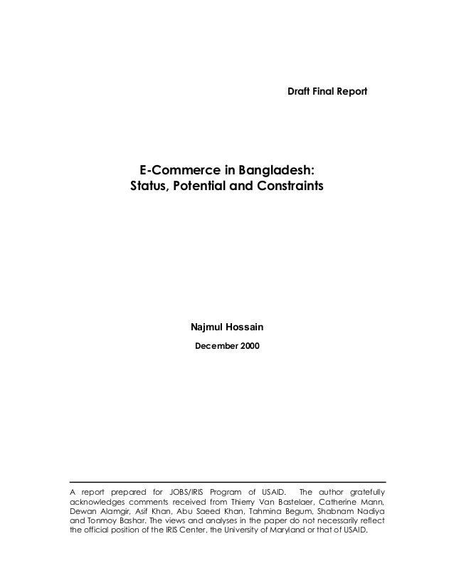 Draft Final Report                   E-Commerce in Bangladesh:                 Status, Potential and Constraints          ...