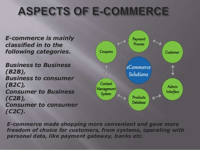 E-commerce is mainly classified in to the following categories. Business to Business (B2B), Business to consumer (B2C), Co...
