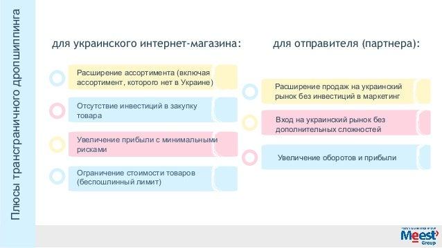 дляукраинскогоинтернет-магазина: дляотправителя(партнера): Расширениеассортимента(включая ассортимент,которогонет...