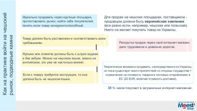 Какнапрактикевойтиначешский рынок,подводныекамни (всеравноесли,например,чешскаяилипольская). Никтонежелает...