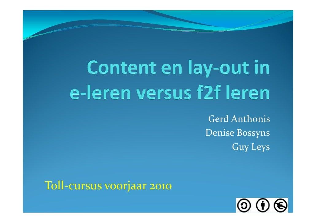 Gerd Anthonis                             Denise Bossyns                                  Guy Leys    Toll-cursus voorjaar...