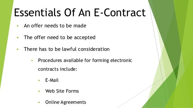 ... Electronic contracts; 4.