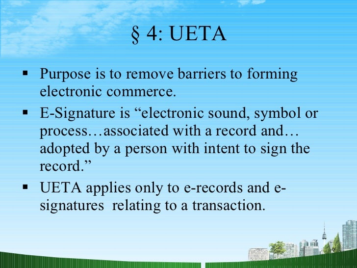 e contracts and e signatures Yes electronic contracts and e-signatures are both recognised under federal  law no 1 of 2006 concerning electronic transactions and.