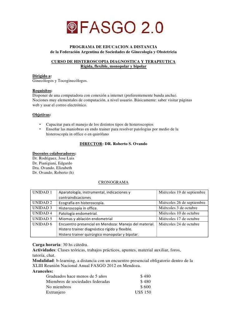 PROGRAMA DE EDUCACION A DISTANCIA          de la Federación Argentina de Sociedades de Ginecología y Obstetricia          ...