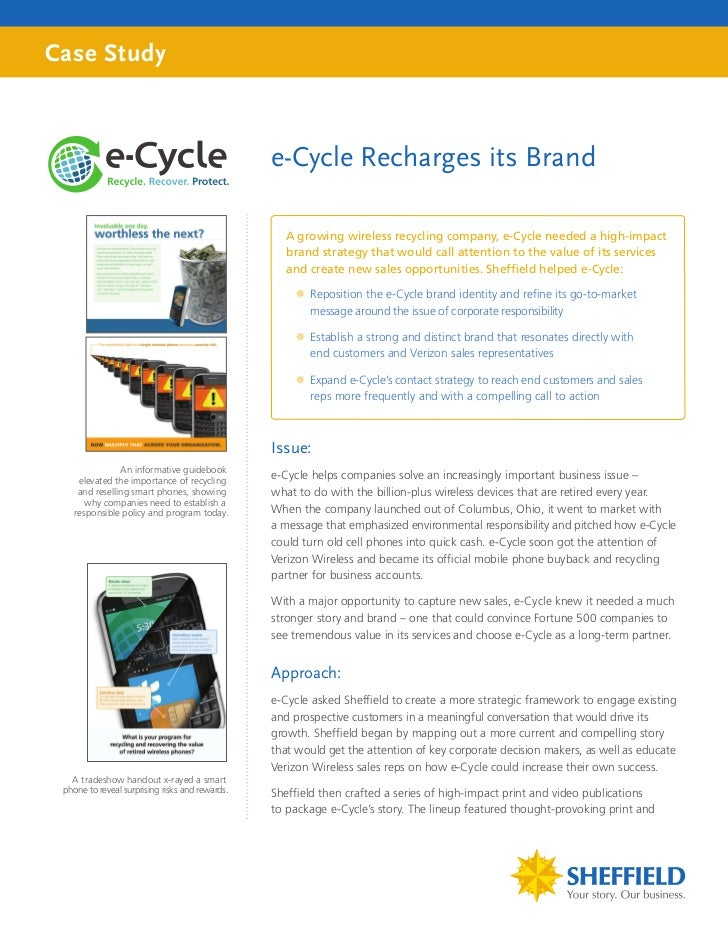 Case Study                                                 e-Cycle Recharges its Brand                                    ...