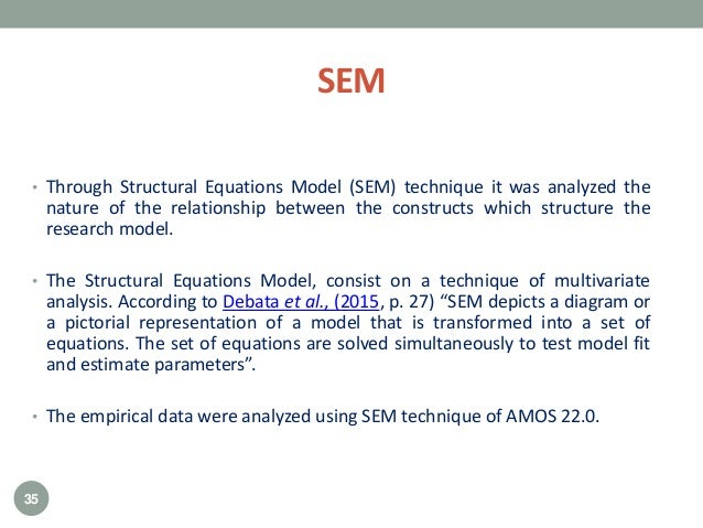 SEM • Through Structural Equations Model (SEM) technique it was analyzed the nature of the relationship between the constr...