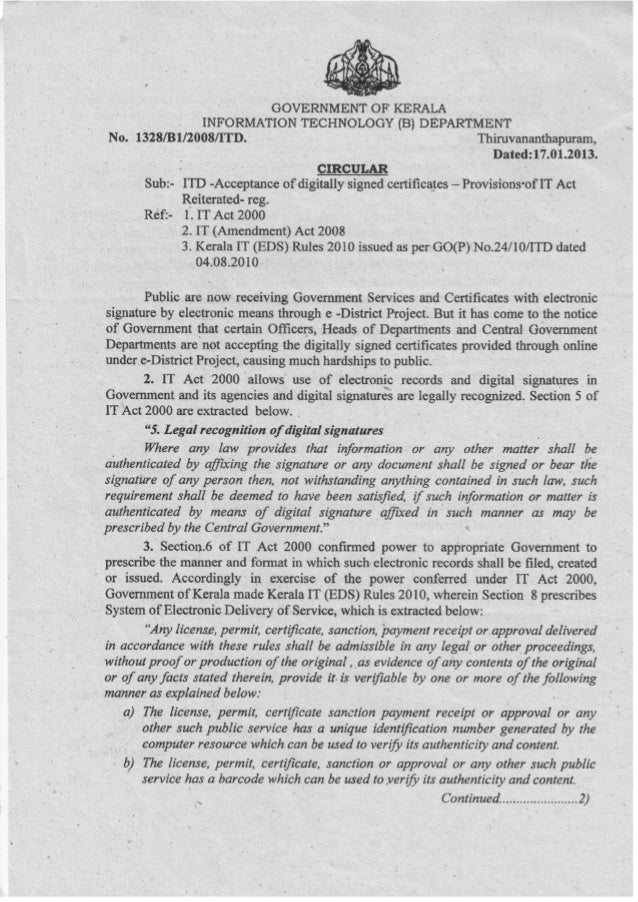 accepatance of digitally signed certificates in INDIA