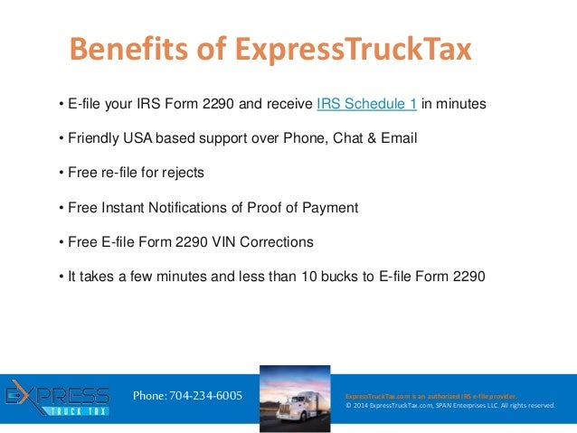 E file hvut irs form 2290 with express trucktax