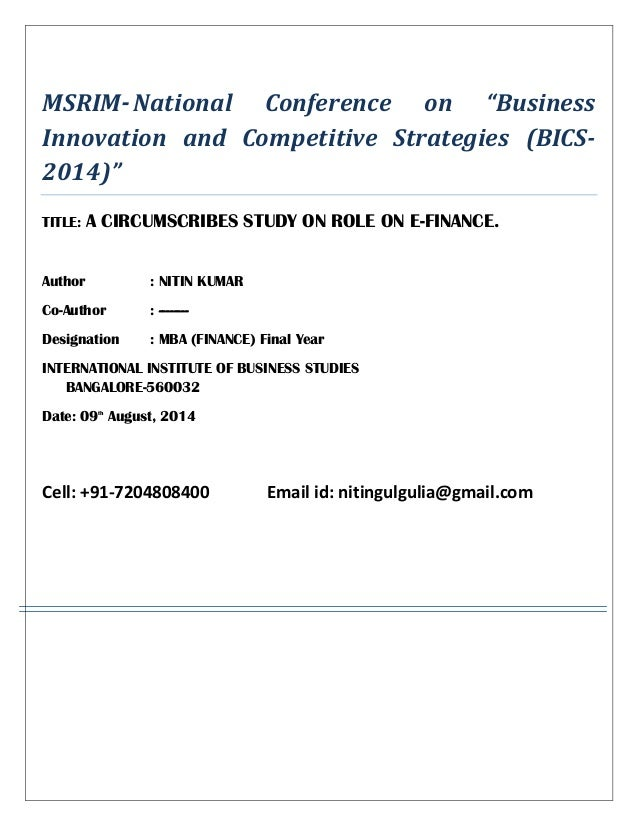 """MSRIM-National Conference on """"Business Innovation and Competitive Strategies (BICS- 2014)"""" TITLE: A CIRCUMSCRIBES STUDY ON..."""
