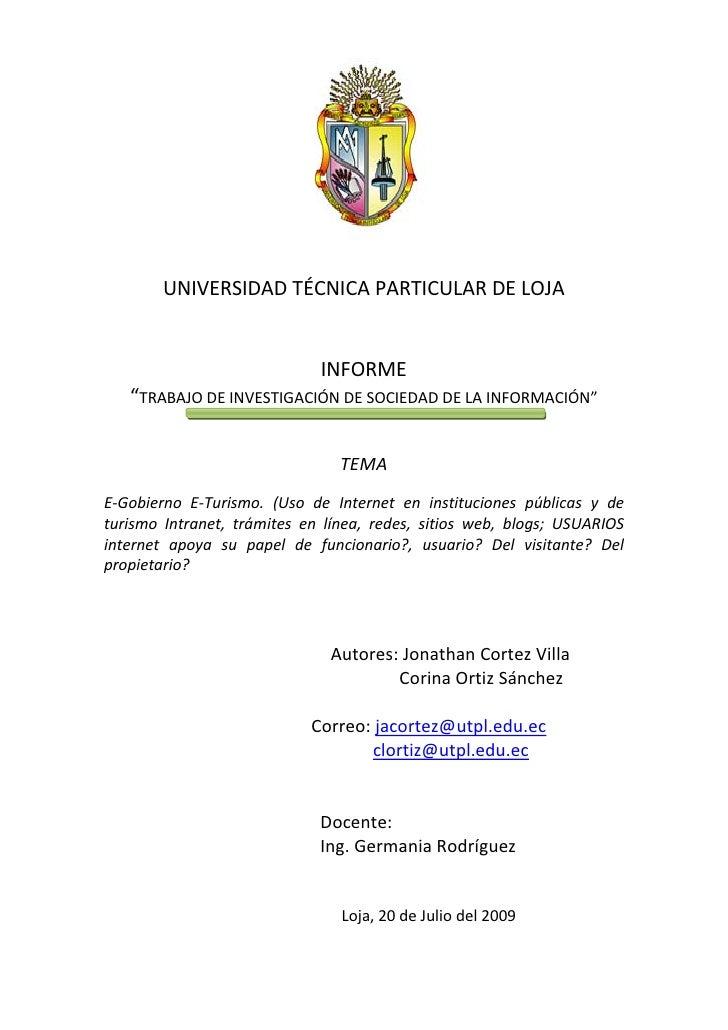"""UNIVERSIDAD TÉCNICA PARTICULAR DE LOJA                                INFORME    """"TRABAJO DE INVESTIGACIÓN DE SOCIEDAD DE ..."""