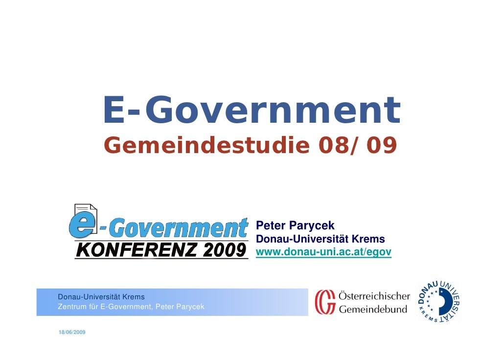 E-Government              Gemeindestudie 08/09                                             Peter Parycek                  ...