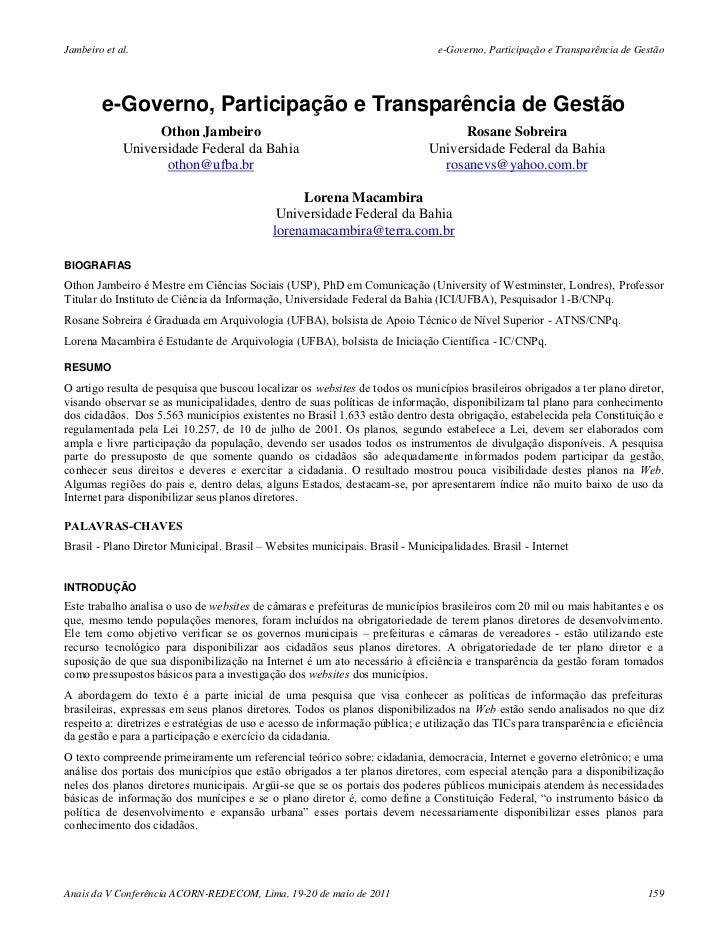 Jambeiro et al.                                                                 e-Governo, Participação e Transparência de...