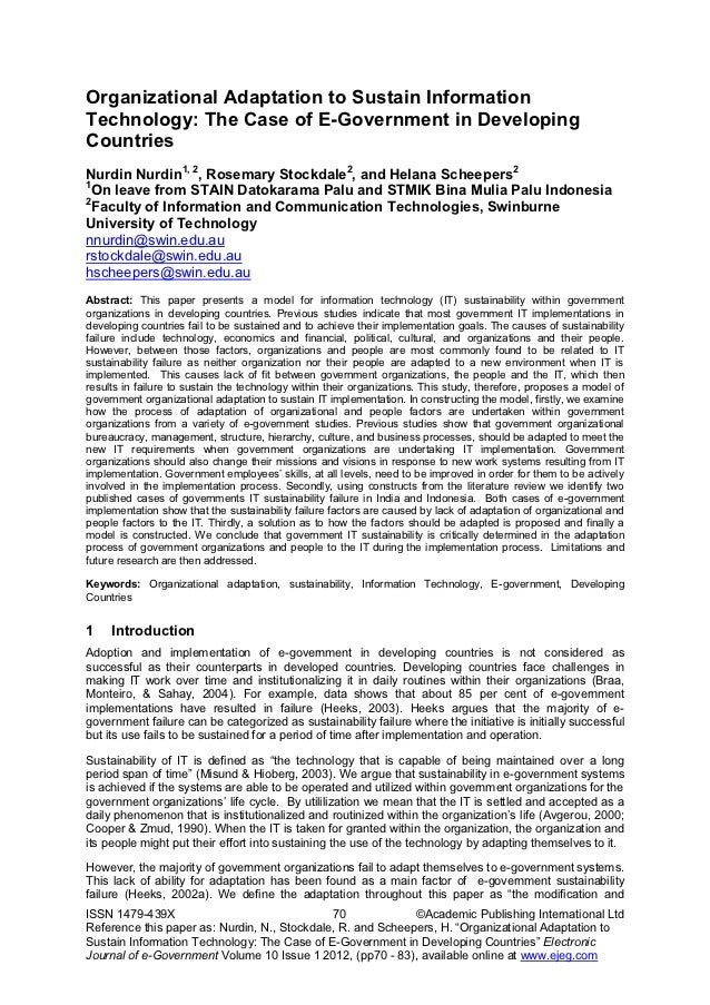 Organizational Adaptation to Sustain InformationTechnology: The Case of E-Government in DevelopingCountriesNurdin Nurdin1,...