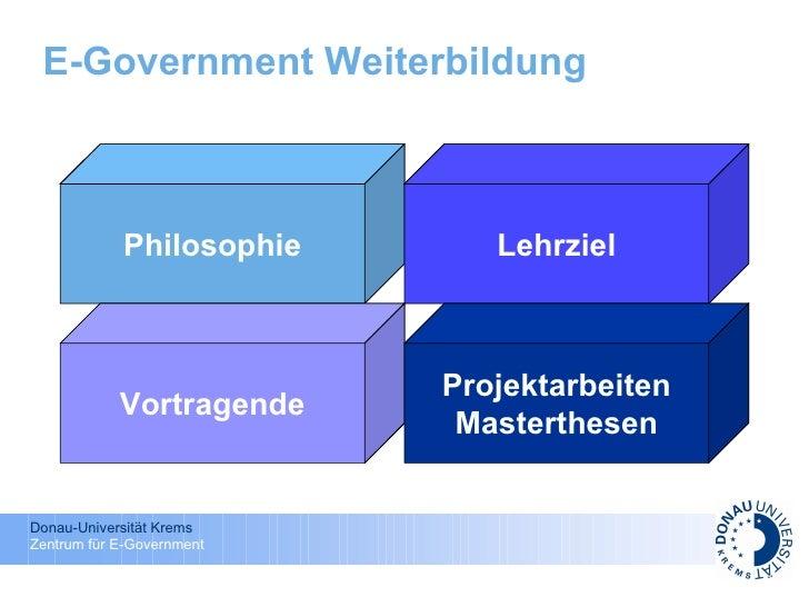 E-Government Weiterbildung   Philosophie Lehrziel Vortragende Projektarbeiten Masterthesen