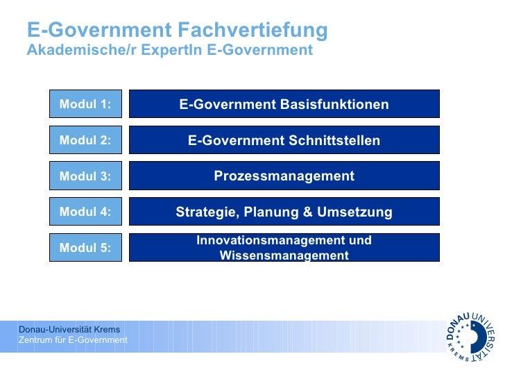 E-Government Fachvertiefung Akademische/r ExpertIn E-Government E-Government Basisfunktionen E-Government Schnittstellen P...